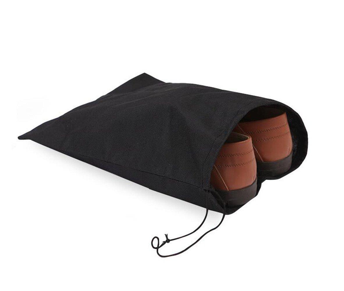 LAAT Pack de 10 Nylon Sacs à Chaussures de Voyage Sacs à Provisions Imperméables Portables avec Fermeture à Cordon, Voyage Suitcas-16x12-Noir