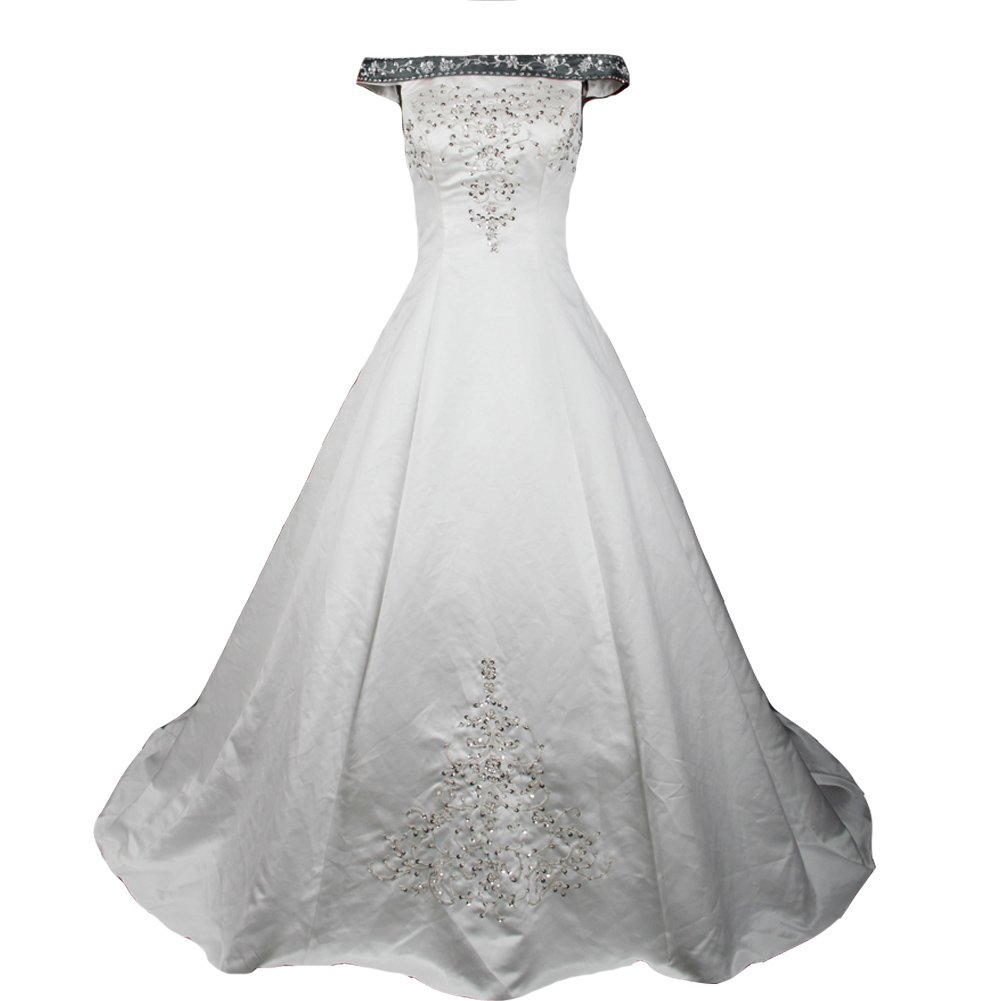 Kivary Silver Embroidery Beaded A Line Off Shoulder White Wedding Dresses K7278