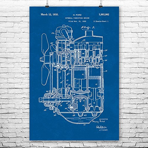 (Henry Ford Internal Combustion Engine Poster Print, Car Lover Gift, Auto Mechanic, Repair Shop, Vintage Automobile Blueprint (24