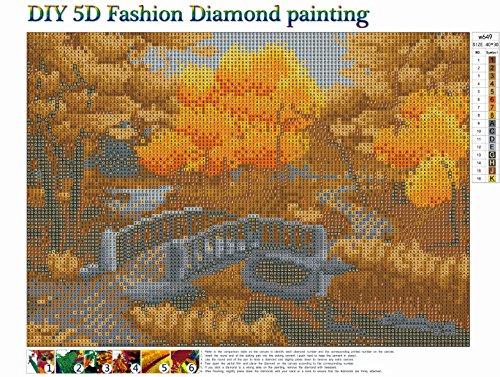 DIY 5D Diamond Painting by Number Kits Full Round Drill Rhinestone Cross Stitch Picture Craft for Home Wall Decor 12x16In Autumn Forest