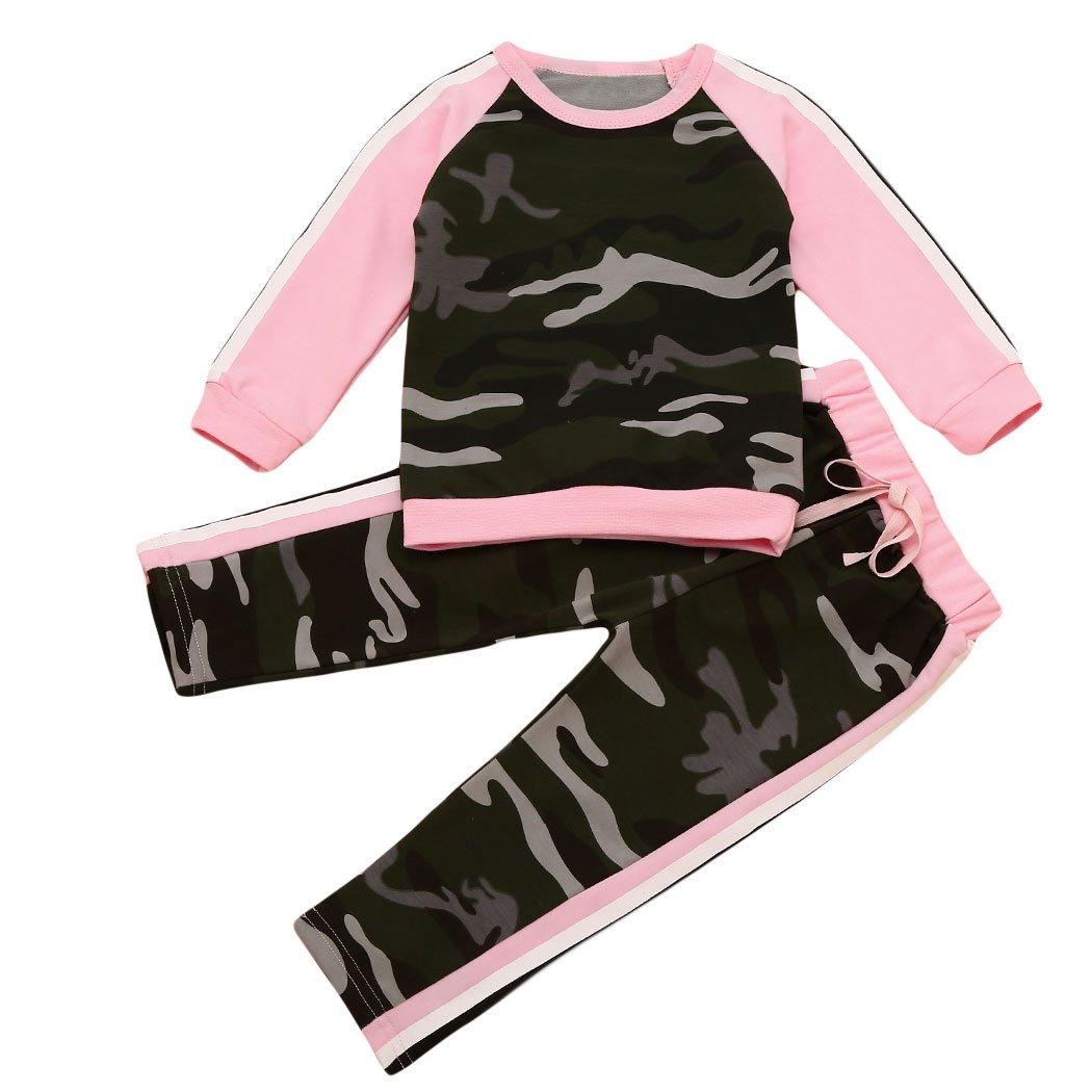 MIOIM®Enfants Camouflage Filles Costumes De Sport à Manches Longues En Deux Parties 12Moins-4Ans