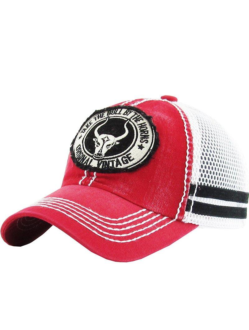 RI001 LONGHORN FADED TRUCKER HAT AND CAP