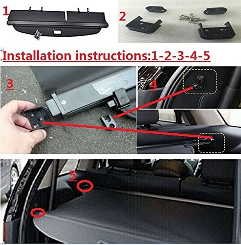 Cargo Cover Retractable For 2011 2012 2013 2014 Ford Edge Black By Kongka
