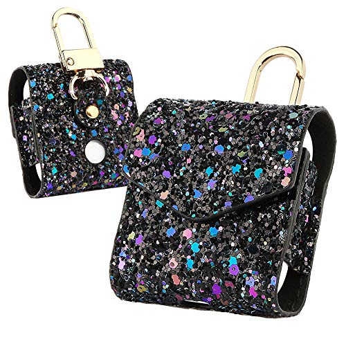 DEESEE(TM) NewFor AirPods Case Magnetic Closure Leather Cover With Anti-lost Keychain Glitter (C) ()
