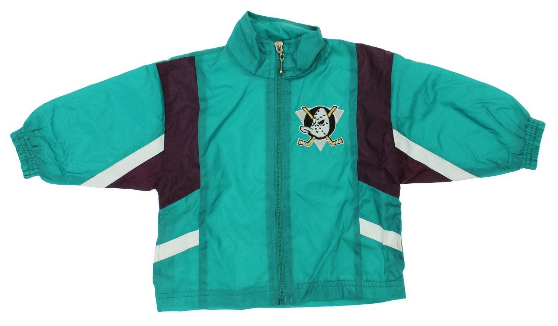 Anaheim Mighty Ducks NHL Boys Infant Vintage Full Zip Hooded Romper Teal