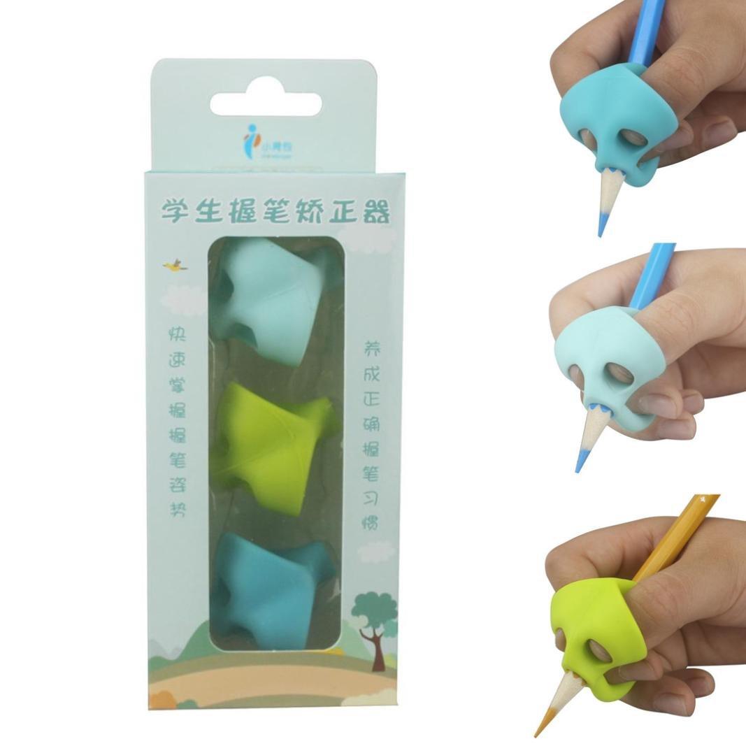 Writing Posture Correction Device,Creazy 3PCS/Set Children Pencil Holder Pen Writing Aid Grip Posture Correction Tool New (B)