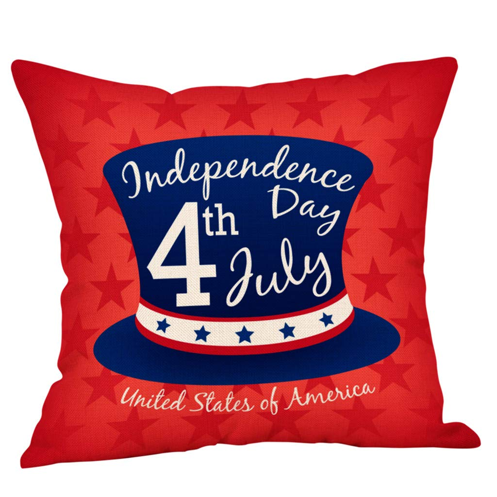 Golike American July 4th Gift Independence Day USA Flag Pillow Cases Sofa Cushion Cover Throw Pillow Case
