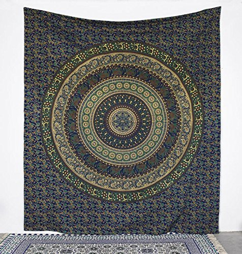 Thread Tapestry (Multi Color Color Screen Print Tapestry Made up of 20 sheeting Cotton with Thread Count of 116 and GSM of 150 Machine Washable ,with Size 84X100)