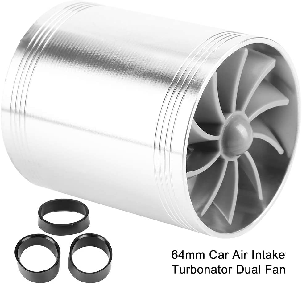 Black Qiilu Car Air Intake Turbonator Car Air Intake Turbonator Dual Fan Turbine Super Charger Gas Fuel Saver Turbo