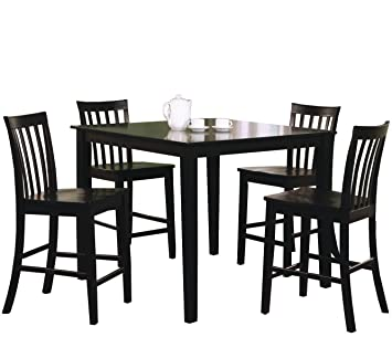 Coaster 5 Piece Dining Set With 4 Barstools, Black