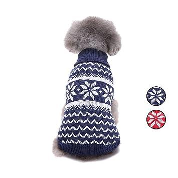 2 Patrones de punto de copo de nieve suéter de perro, prendas de punto ropa de perro con Fair Isle para perros pequeños y gatos por HongYH: Amazon.es: ...