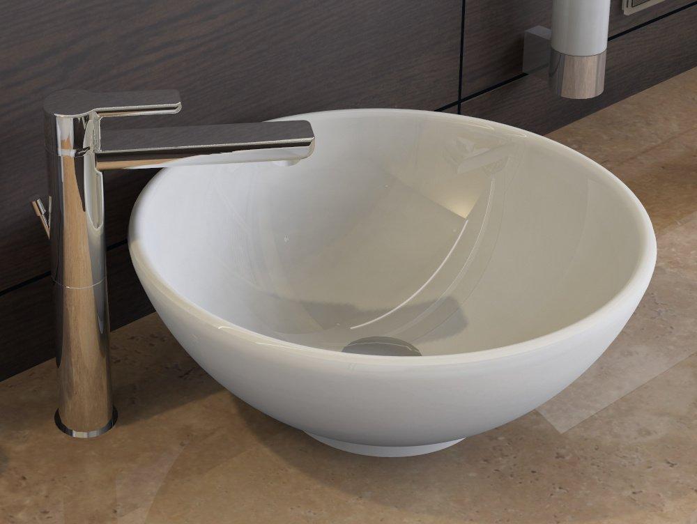 Aqua Bagno Diseño cerámica accesorio de lavado–Cuenco de lavabo Platillos 40cm Blanco KR de 40–1