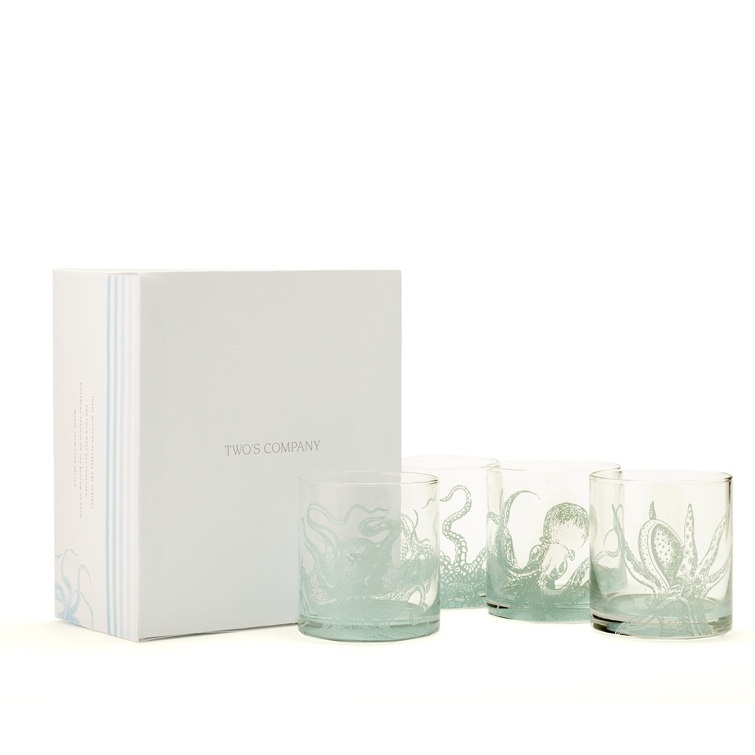 Two's Company 51522-EA Octopus Set of 4 double Old-Fashioned Glasses In Gift Box Includes 4 Designs - Glass, Clear