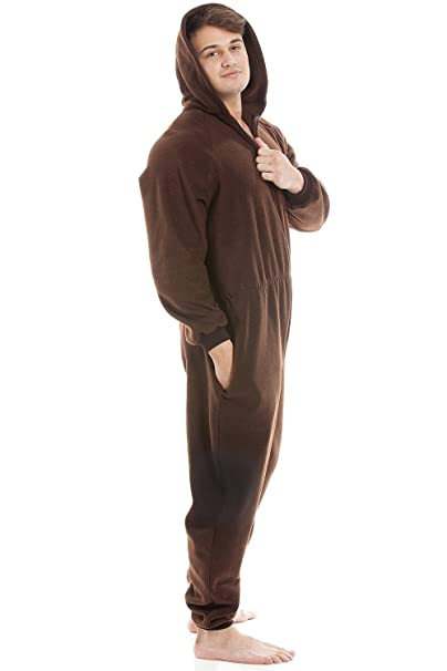 Camille Mens Brown Supersoft Fleece Zip Front Hooded Onesie at Amazon Mens Clothing store:
