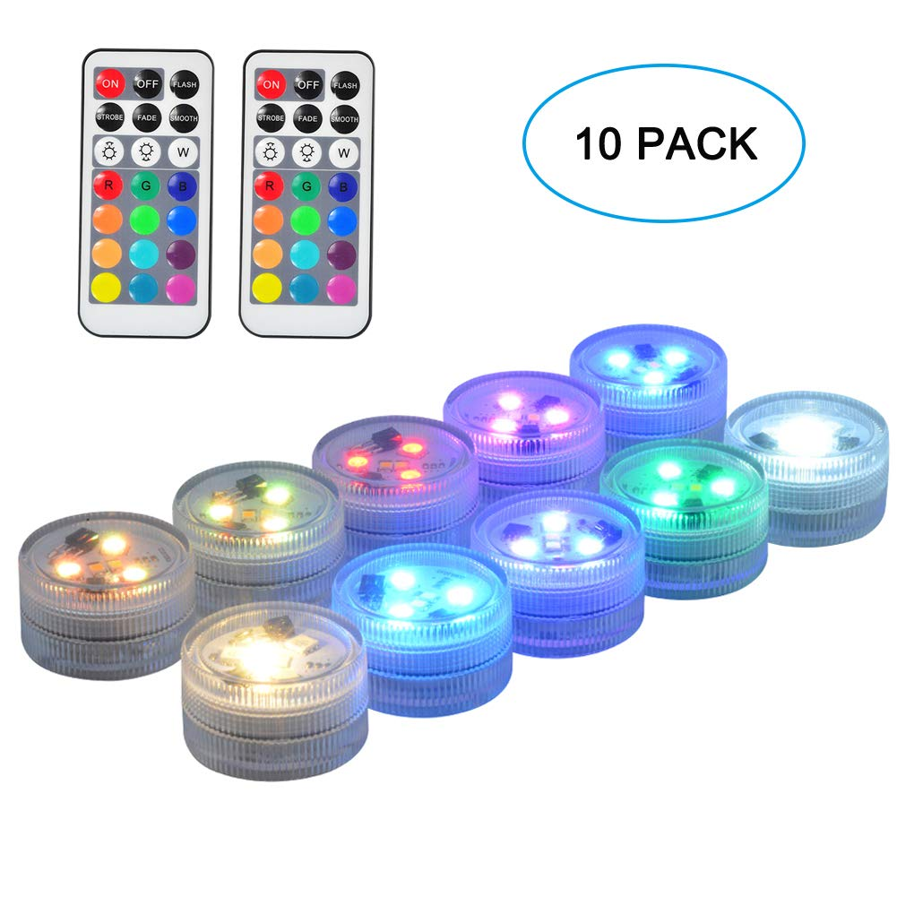 SEED 10 Pack 1.5'' Round Submersible LED Lights, Exclusive 100% Waterproof Battery Operated Super Bright Flameless LED Craft Accent Light with Remote for Party Event Vase Lantern Wedding Centerpieces