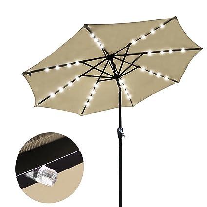Outdoor Tilting Patio Umbrella 9u0027 Tan With 32 LED Lights