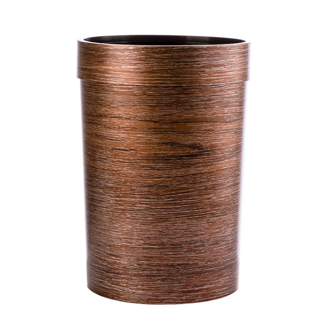 WOLFBUSH Trash Bin 9L Wood Grain Garbage Can Plastic Pressure Ring Waste Basket Without Lid (Coffee) by WOLFBUSH (Image #1)