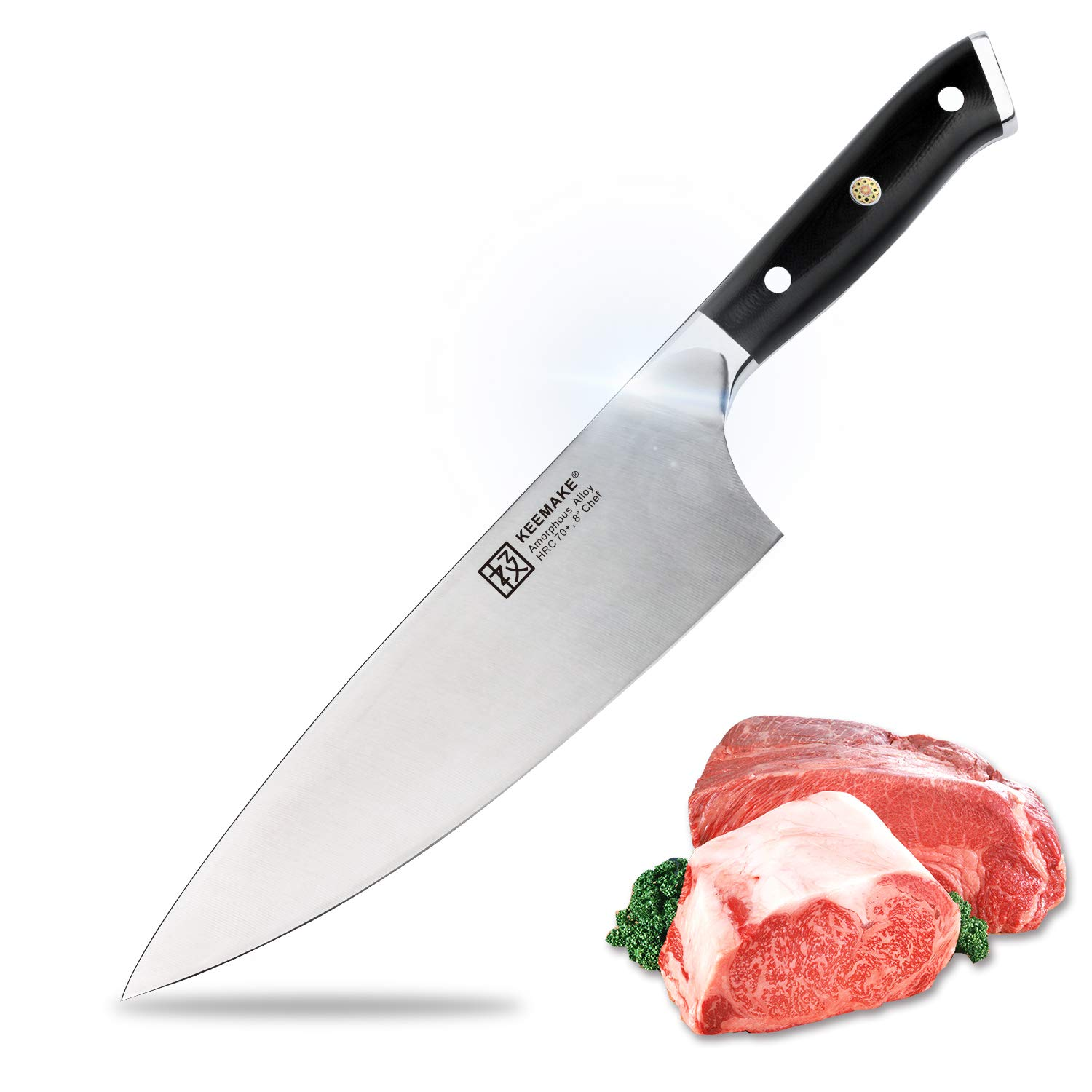 Chef Knife 8 Inch Professional Kitchen Knives Super Sharp Edge with G10 Handle 70HRC Strong Hardness Liquid Metal, Anti Corrosion Knife for Kitchen by Keemake