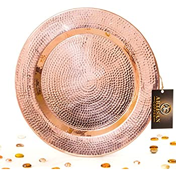 """Hammered Pure Copper Serving Tray - Handmade Round Charger Plate (13.5"""" Tray)"""