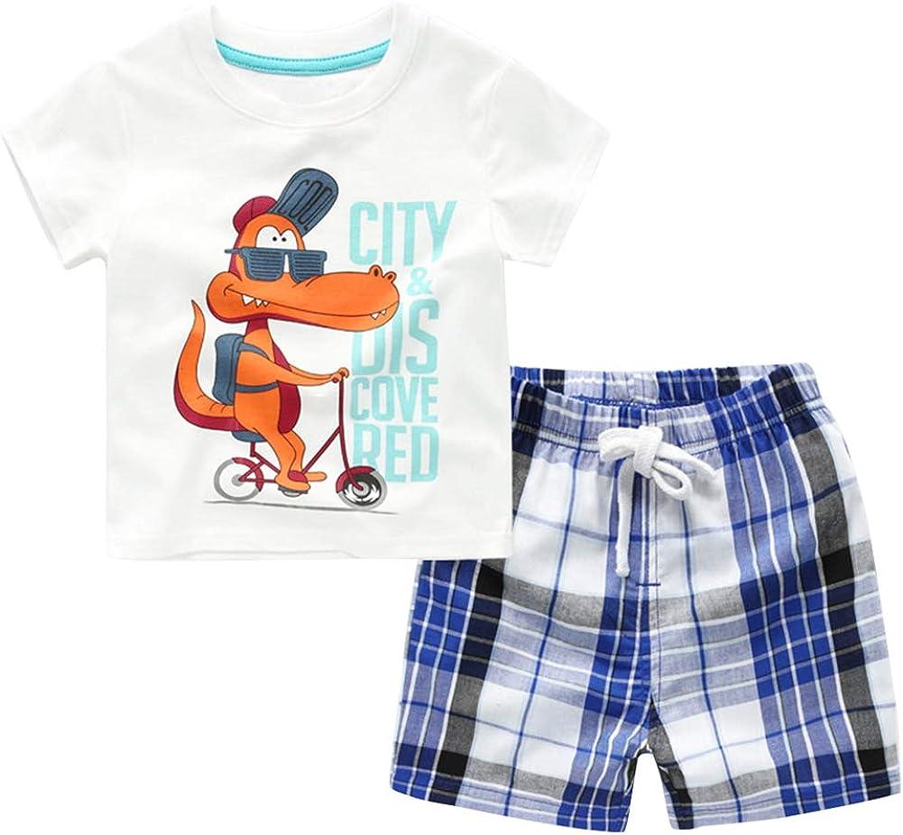 LittleSpring Little Girls Summer Outfit Plaid Sundress and Shorts Set