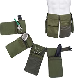 Hzeal Garden Tool Belt, Canvas Waist Tool Apron Organizer Hanging Pouch Tote Bag, Adjustable Work Pouch Gardening Storage Bag Carrier Tool Holder Bucket with 7 Pockets, Waterproof (Green)