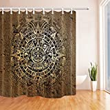 hole in one american pie - HiSoho Native American Decor, Ethnic Indian Style with Aztec Calendar in Vintage Stone, Mildew Resistant Polyester Fabric Shower Curtains, Bathroom Shower Curtain with Rings,71X71in
