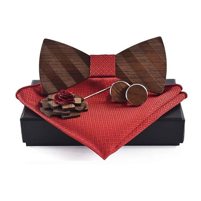 Corbata de lazo de madera para hombre Patrón de rayas diagonales ...