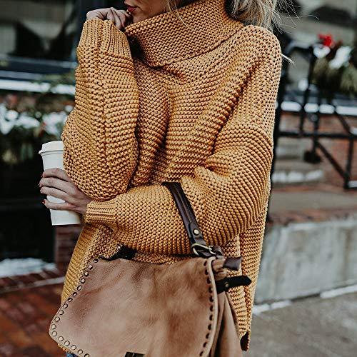 Pullover Col Blouse Hiver Pull TricotE Chaud Jaune Jumper Manches LaChe Mode Haut Roul Top Femme DContractE Longues VJGOAL Femme Automne Noir H4nfxC