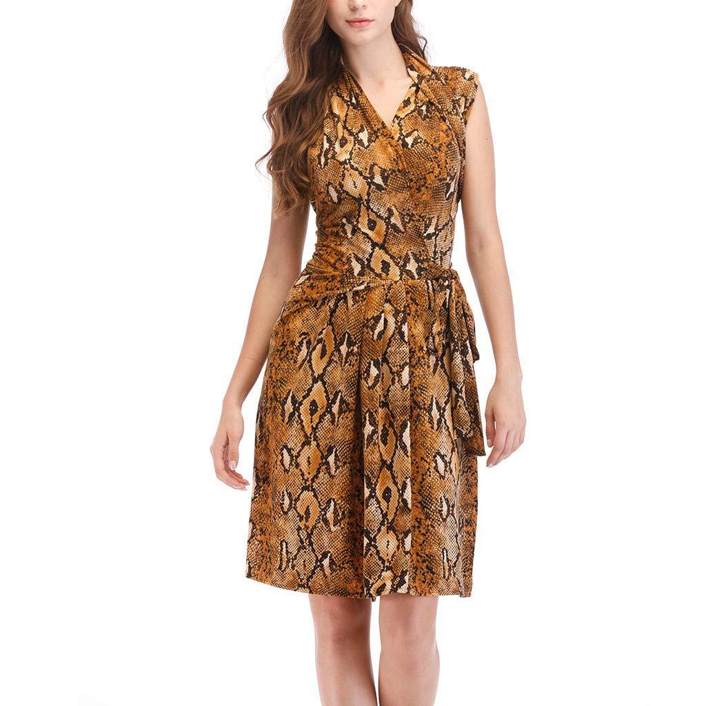 Women Fashion Casual Leopard Print Wrap Midi Dress V Neck Sleeveless Lady Hallmark Resort Holiday Party Summer Dress