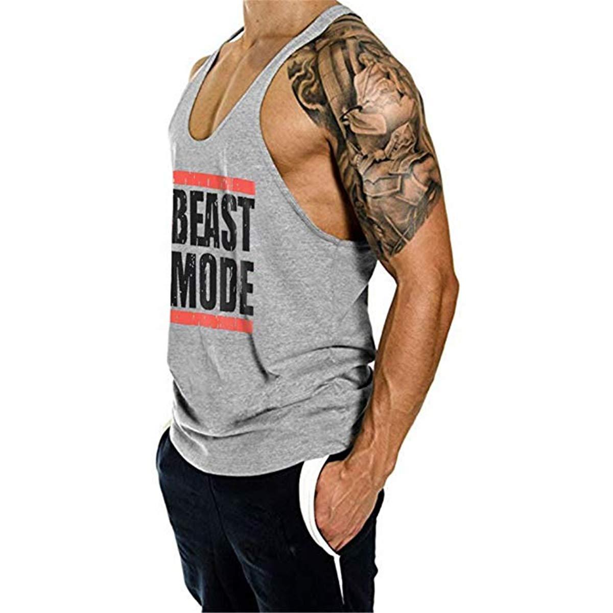 Cabeen Beast Mode Uomo Bodybuilding Canotte Sportivo Canottiera Stringer da Palestra