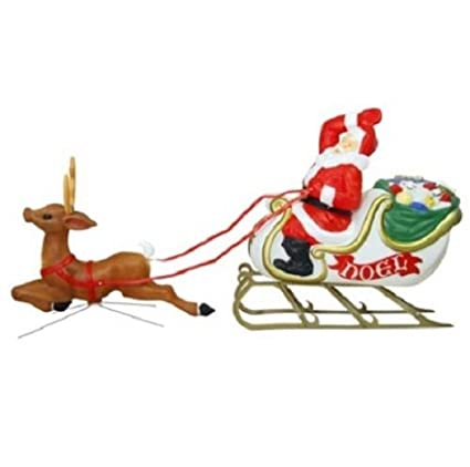 home improvements 6 foot santa reindeer sleigh blow mold display outdoor christmas yard lawn garden decoration - Blow Mold Christmas Decorations Outdoor