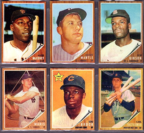 1962 (6) Topps Card Baseball Reprint Lot #3 ** Mickey Mantle,Willie McCovey, Bob Gibson, Roger Maris, Lou Brock, Carl Yastrzemski