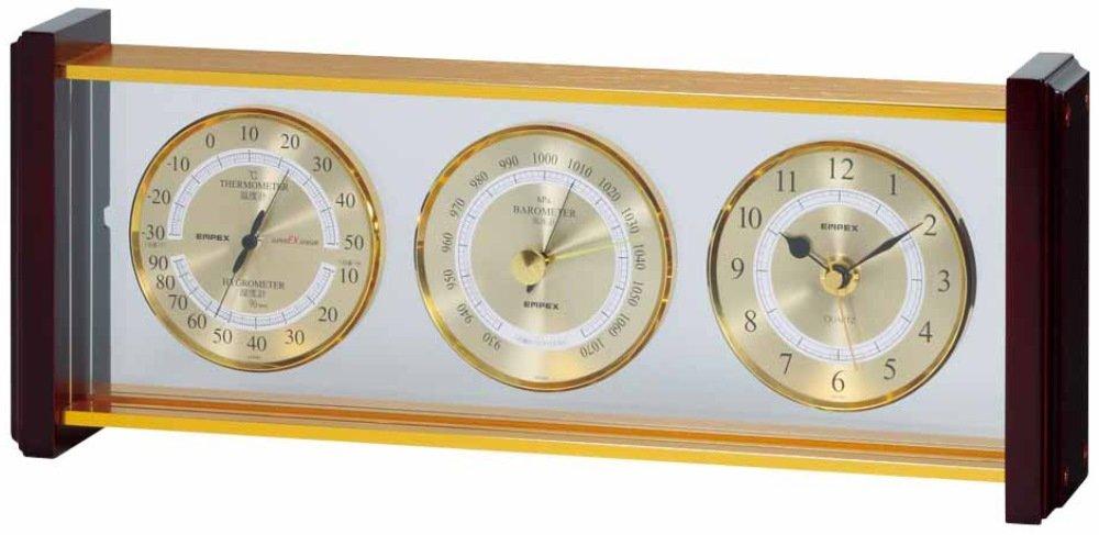 エンペックス気象計 温度湿度計 スーパーEXギャラリー気象計 温度 気圧 湿度 時計表示 置き用 日本製 ブラウン EX-743 B002OREAOYブラウン