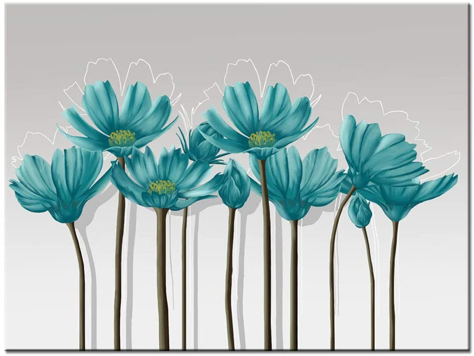 Visual Art Decor Large Teal Grey and White Floral Canvas Wall Art Pictures Elegant Flowers Painting Printed on Canvas Wall Decoration (01 Green)