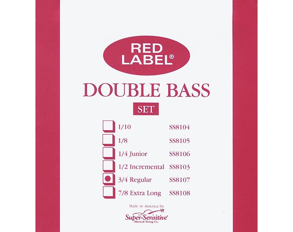 Super Sensitive Red Label 8107 Bass String Set, 3/4
