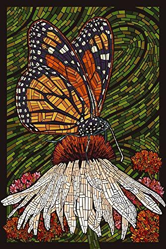 Monarch Butterfly - Paper Mosaic - Green Background (9x12 Art Print, Wall Decor Travel Poster) (Mosaic Art Butterfly Wall)