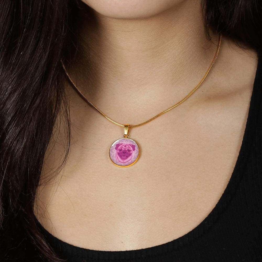 18-22 Many Colors DuFauna Berry Pink Pug Necklace D1 Steel or 18k Gold Finish