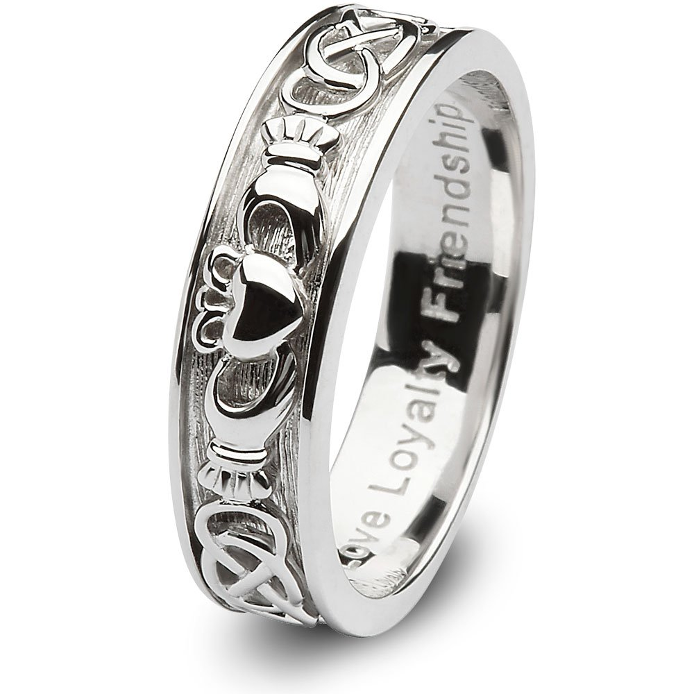 Ladies Claddagh Wedding Ring SL-SD8 - Size: 8 Made in Ireland. by CLADDAGH RING STORE (Image #1)