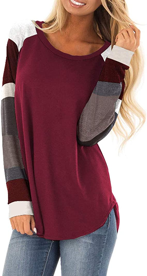 osazic Womens Color Block Round Neck Tunic Tops Casual Long Sleeve and Short Sleeve Shirt Blouse
