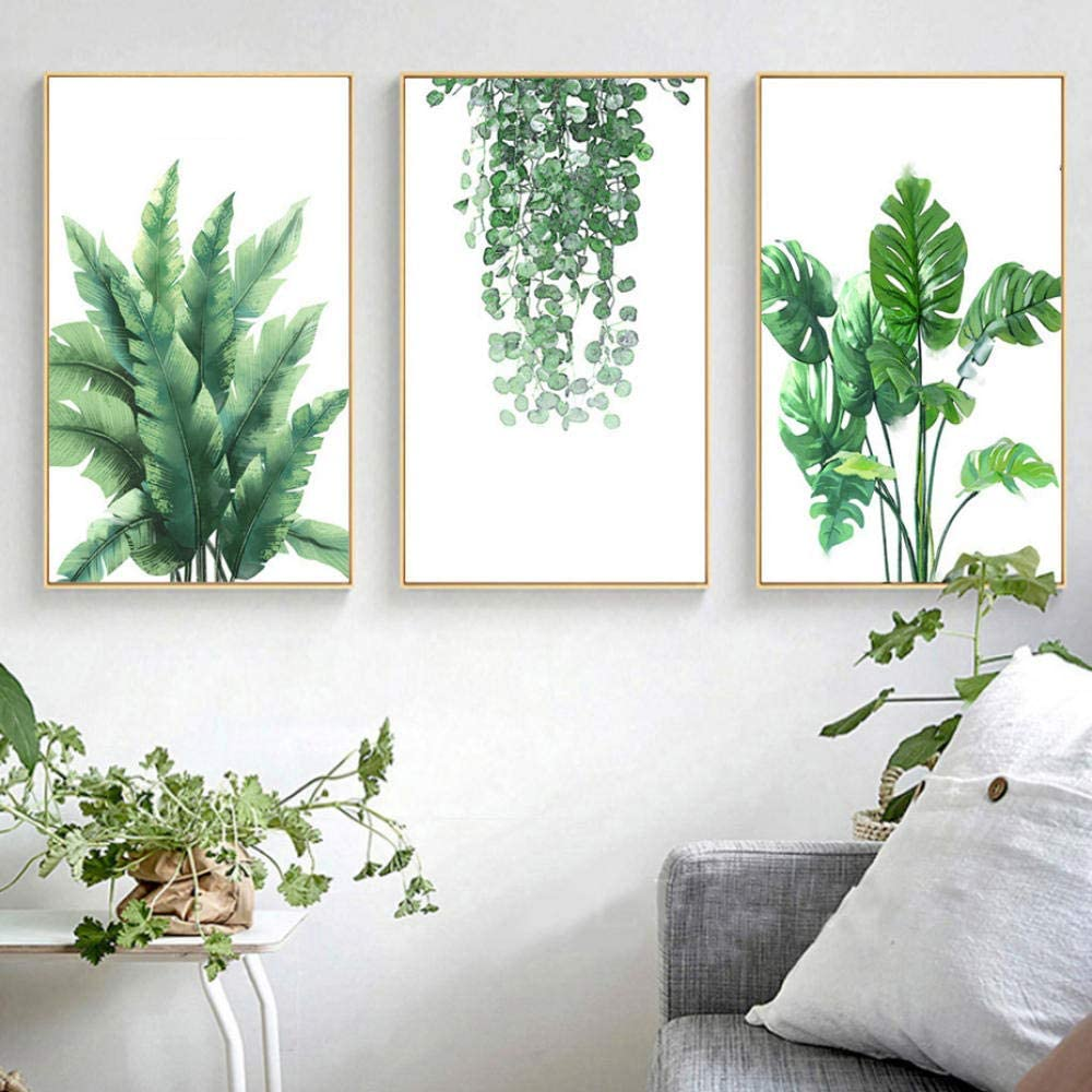 Minimalista Hojas verdes Lienzo de pared, Cuadros Cuadros y láminas naturales Cuadros del arte de la pared para la sala de estar Decoración para el hogar 50x70cmx3 sin marco