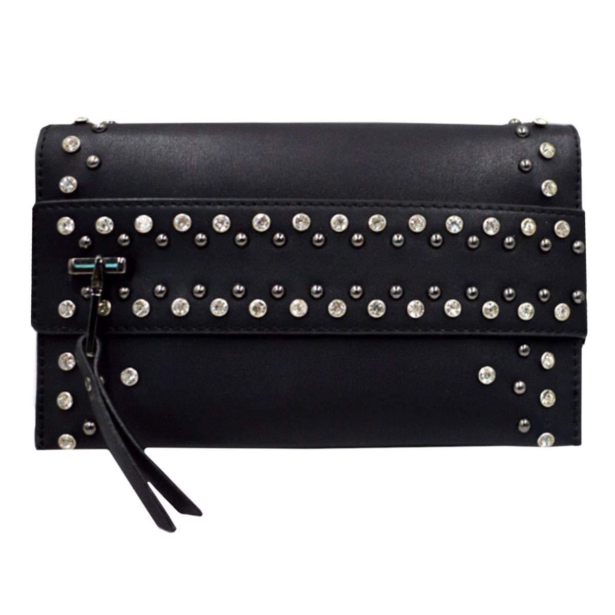 Goodbag Boutique Women Rivet Clutch Purse Bag Faux Leather Chain Clutch Handbag Lady Wristlet Purse Evening Bag