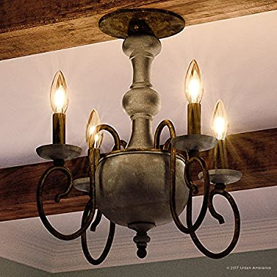 """Luxury French Country Indoor Semi-Flush Ceiling Light, Large Size: 15.5""""H x 18""""W, with Colonial Style Elements, Grey-Washed Wood, Antique Black Finish and Exposed Bulbs, UQL2151 by Urban Ambiance"""