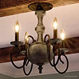 Luxury French Country Indoor Semi-Flush Ceiling Light, Large Size: 15.5''H x 18''W, with Colonial Style Elements, Grey-Washed Wood, Antique Black Finish and Exposed Bulbs, UQL2151 by Urban Ambiance