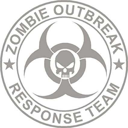 Zombie Outbreak Response Team Skull Vinyl Sticker Decal Red Black White