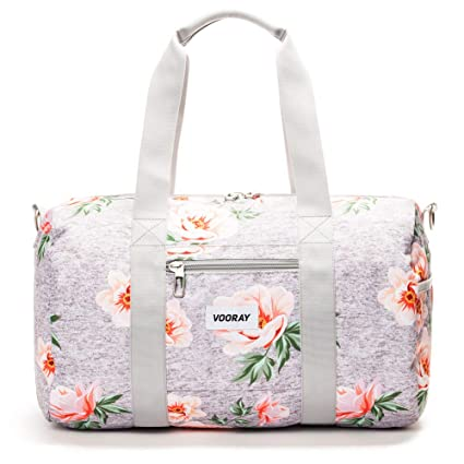 cheapest fashion style official Vooray Roadie 23L Small Gym Duffel Bag, Rose Floral Gray ...