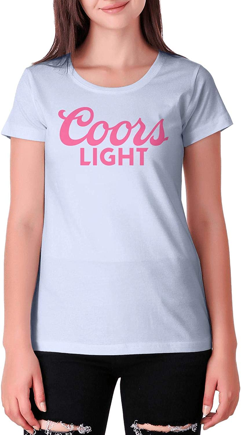 Women Coors-Light-Pink-Breast-Cancer Loose Short Sleeves Printing Shirts