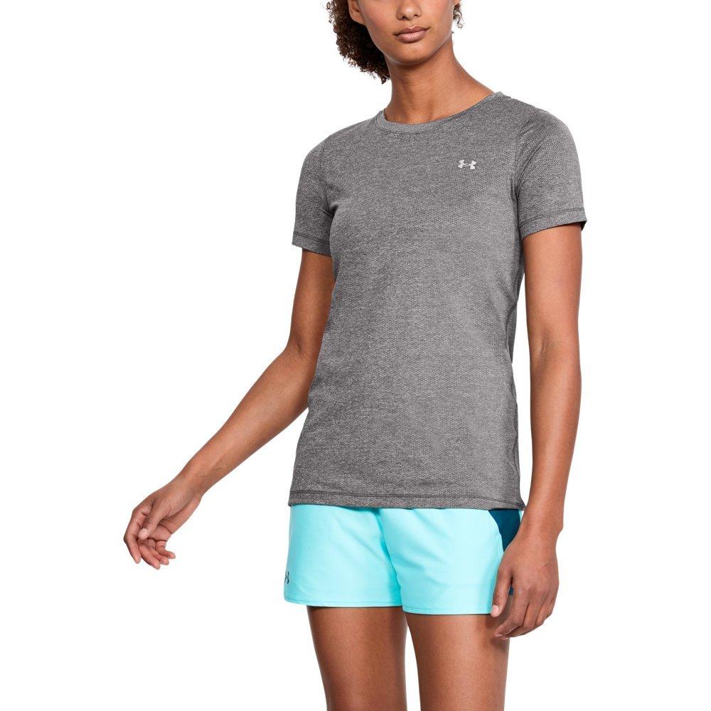 Under Armour Women's HeatGear Armour Short Sleeve, Charcoal Light Heather/Metallic Silver, X-Small