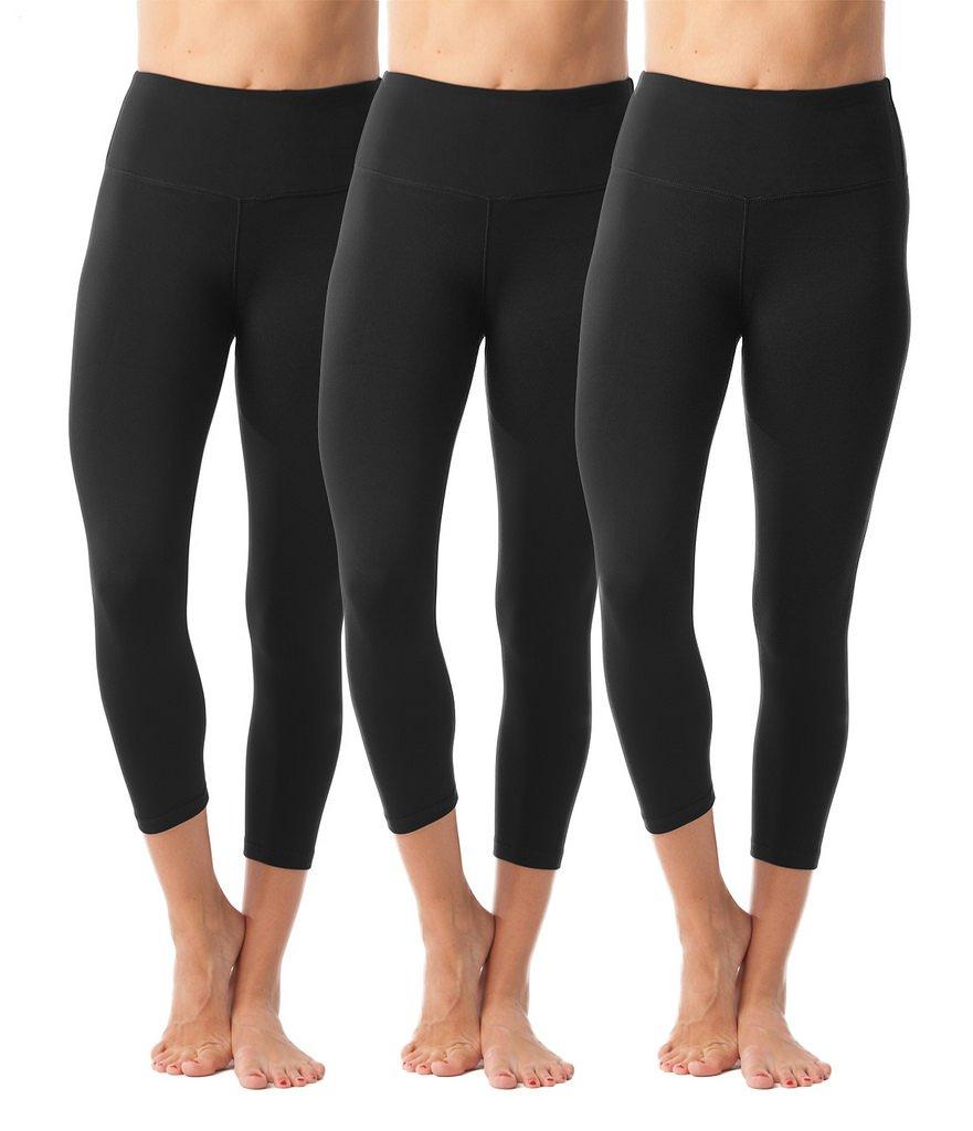 90 Degree By Reflex - High Waist Tummy Control Shapewear - Power Flex Capri - Black 3 Pack - Large by 90 Degree By Reflex