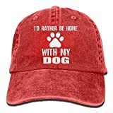 Qevenon-08 Men's/Women's I'd Rather Be Home with My Dog Cotton Denim Baseball Cap Adjustable Hip Hop Caps