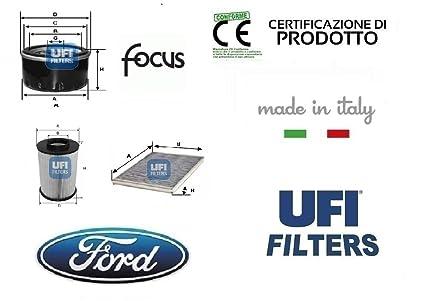 Kit 3 filtros Tagliando UFI Ford Focus III 1.6 Ti-VCT 63 – 77 –